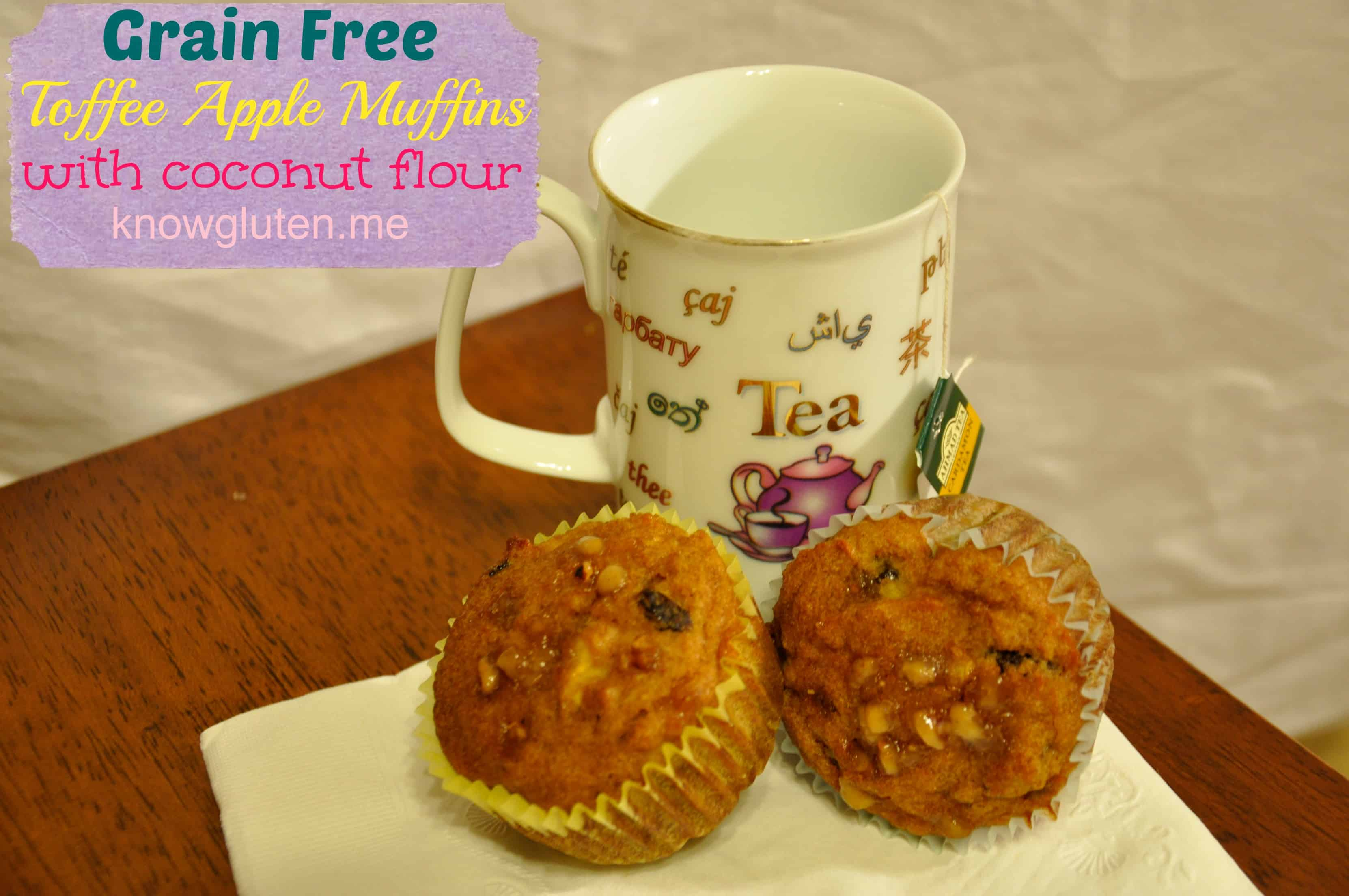 Grain Free Toffee Apple Muffins with Coconut Flour from Knowgluten.me