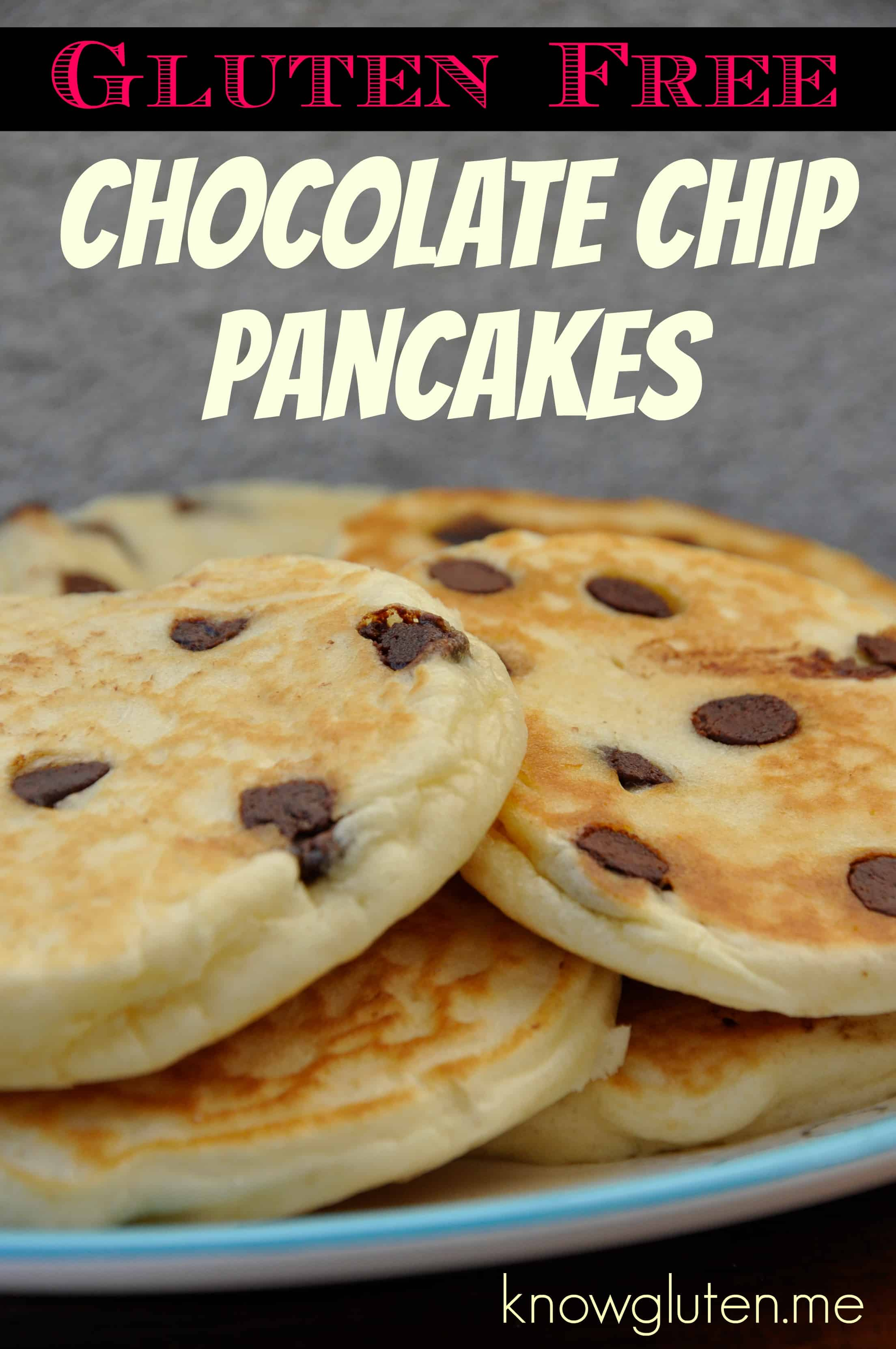 Gluten Free Chocolate Chip Pancakes made with knowgluten.me Thai Rice Flour Baking Mix