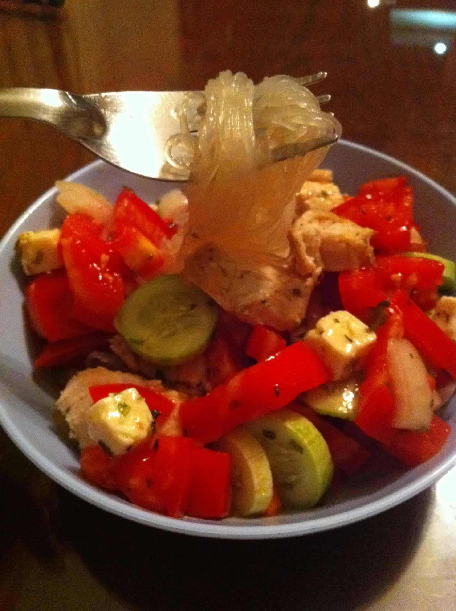 chicken noodle greek salad  know gluten